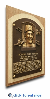 Rollie Fingers Baseball Hall of Fame Plaque on Canvas - Oakland A's