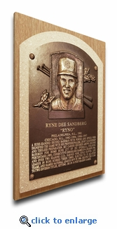 Ryne Sandberg Baseball Hall of Fame Plaque on Canvas - Chicago Cubs