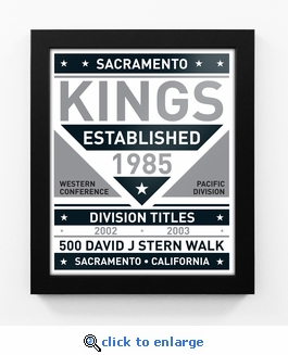 Sacramento Kings Black and White Team Sign Print Framed