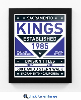 Sacramento Kings Dual Tone Team Sign Print Framed