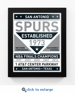 San Antonio Spurs Black and White Team Sign Print Framed