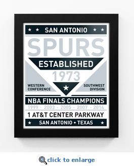 San Antonio Spurs Dual Tone Team Sign Print Framed