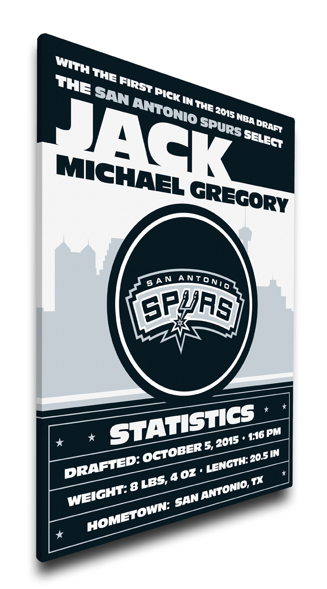 San antonio spurs personalized canvas birth announcement baby gift negle Image collections
