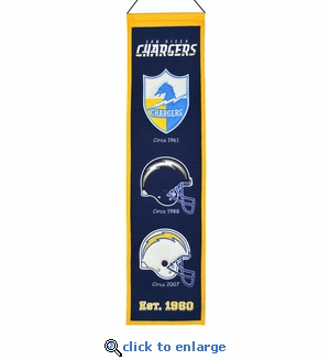 San Diego Chargers Heritage Wool Banner (8 x 32)