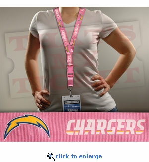 San Diego Chargers NFL Lanyard Key Chain and Ticket Holder - Pink