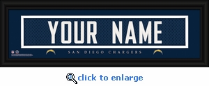 San Diego Chargers Personalized Stitched Jersey Nameplate Framed Print