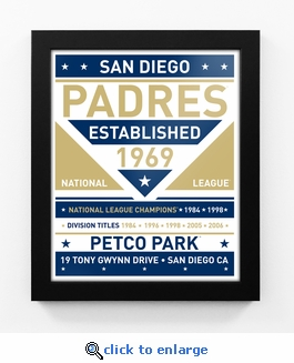 San Diego Padres Dual Tone Team Sign Print Framed