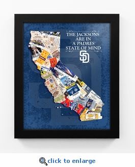 San Diego Padres Personalized State of Mind Framed Print - California