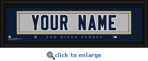 San Diego Padres Personalized Stitched Jersey Nameplate Framed Print