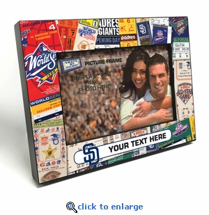 San Diego Padres Personalized Ticket Collage Black Wood Edge 4x6 inch Picture Frame