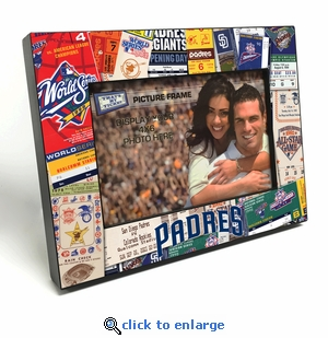 San Diego Padres Ticket Collage Black Wood Edge 4x6 inch Picture Frame