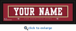San Francisco 49ers Personalized Stitched Jersey Nameplate Framed Print