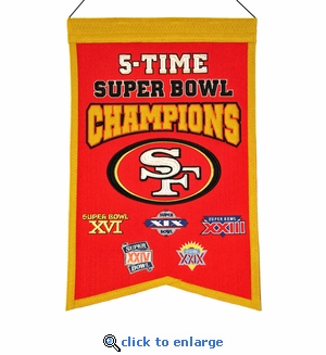 San Francisco 49ers Super Bowl Champions Wool Banner (14 x 22)