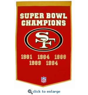 San Francisco 49ers Super Bowl Dynasty Wool Banner (24 x 36)