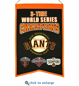 San Francisco Giants 3-Time World Series Champions Wool Banner (14 x 22)