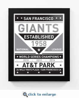 San Francisco Giants Black and White Team Sign Print Framed