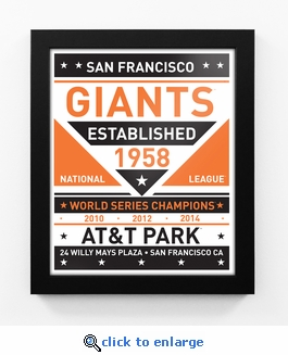 San Francisco Giants Dual Tone Team Sign Print Framed