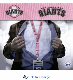 San Francisco Giants MLB Lanyard Key Chain and Ticket Holder - Pink