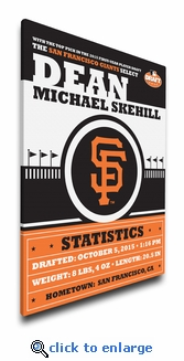 San Francisco Giants Personalized Canvas Birth Announcement - Baby Gift