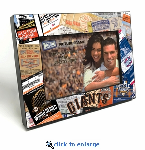 San Francisco Giants Ticket Collage Black Wood Edge 4x6 inch Picture Frame