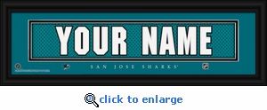 San Jose Sharks Personalized Stitched Jersey Nameplate Framed Print