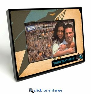 San Jose Sharks Personalized Vintage Style Black Wood Edge 4x6 inch Picture Frame