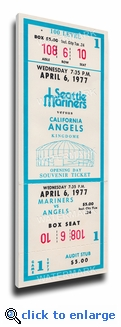 Seattle Mariners 1977 Opening Day / Inaugural Game Canvas Mega Ticket