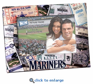 Seattle Mariners Padded Front 4x6 Picture Frame - Ticket Collage Design