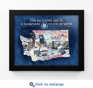 Seattle Mariners Personalized State of Mind Framed Print - Washington