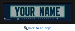 Seattle Mariners Personalized Stitched Jersey Nameplate Framed Print