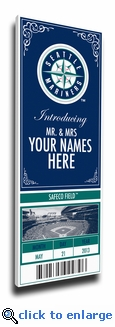 Seattle Mariners Personalized Special Occasion Announcement on Canvas - Ticket Design