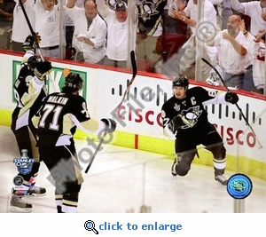 Sidney Crosby, Evgeni Malkin, Marian Hossa Celebrate Crosby's 2nd Goal Game 3 Stanley Cup Finals 8x10 Photo