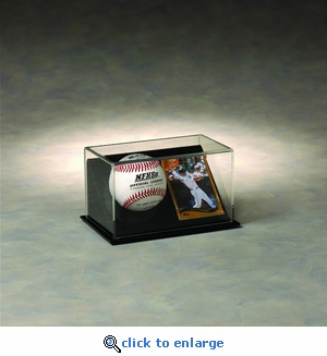 Single Baseball and Trading Card Rectangular Acrylic Display Case with Slanted Base