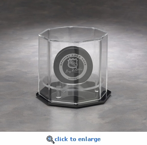 Single Hockey Puck Octagon Acrylic Display Case