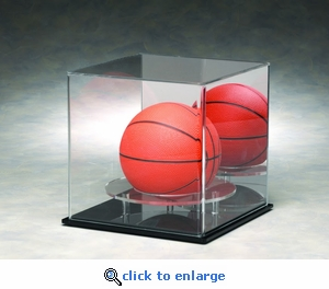 Single Mini Basketball Volleyball or Soccer Ball Rectangular Acrylic Display Case with Mirrored Back