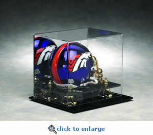 Single Football Mini Helmet Rectangular Acrylic Display Case with Gold Risers and Mirrored Back
