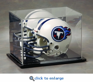 Single Football Mini Helmet Rectangular Acrylic Display Case with Mirrored Back