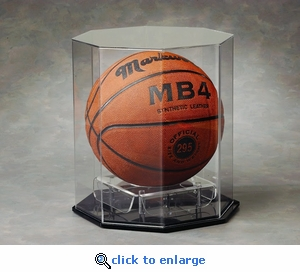 Single Regulation Size Basketball Volleyball or Soccer Ball Octagon Acrylic Display Case