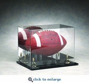 Single Regulation Size Football Rectangular Acrylic Display Case with Gold Risers and Mirrored Back