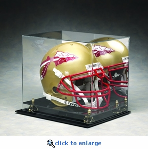 Single Regulation Size Helmet Rectangular Acrylic Display Case with Gold Risers and Mirrored Back