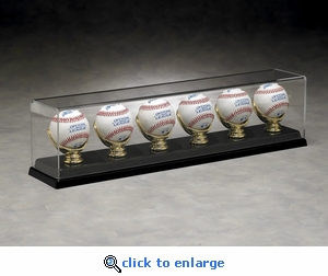 Six Baseball Rectangular Acrylic Display Case with Gold Glove Holders and Formed Base