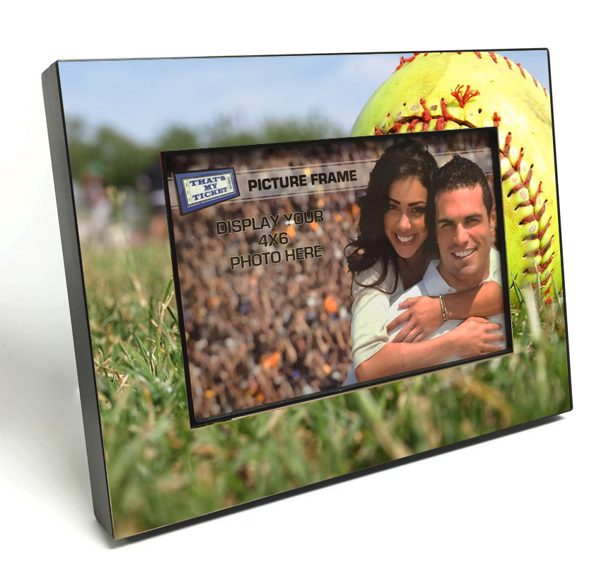 Softball Black Wood Edge 4x6 inch Picture Frame