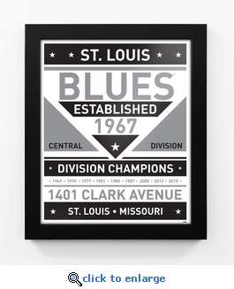 St Louis Blues Black and White Team Sign Print Framed