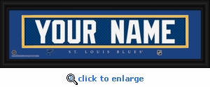 St Louis Blues Personalized Stitched Jersey Nameplate Framed Print