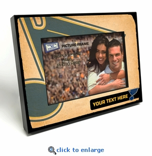 St Louis Blues Personalized Vintage Style Black Wood Edge 4x6 inch Picture Frame