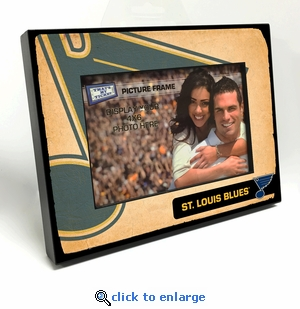 St Louis Blues Vintage Style Black Wood Edge 4x6 inch Picture Frame
