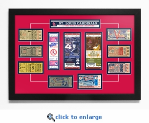 St Louis Cardinals 11-Time World Series Champions Tickets to History - Framed Print