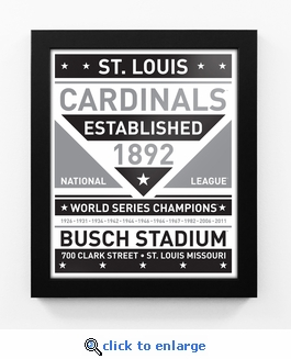 St Louis Cardinals Black and White Team Sign Print Framed