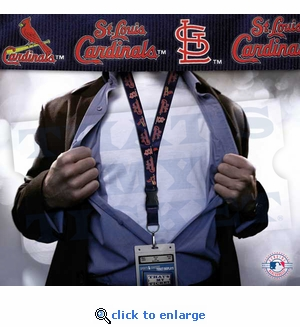 St Louis Cardinals MLB Lanyard Key Chain and Ticket Holder - Navy