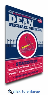 St Louis Cardinals Personalized Canvas Birth Announcement - Baby Gift